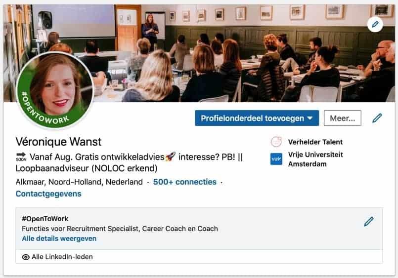 #OpenToWork op LinkedIn